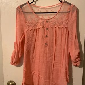 MINE Pink lace long sleeve top